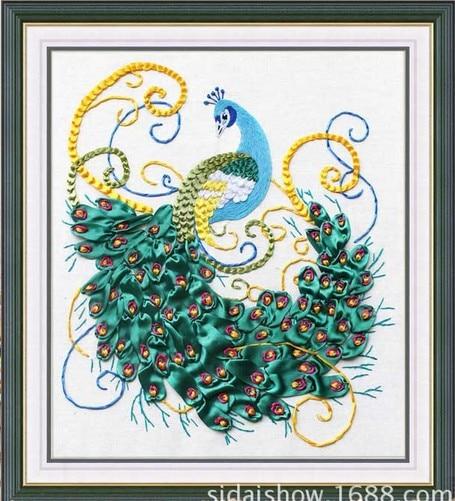 Aliexpress Buy Peacock Silk Ribbon Embroidery Kits Animal Bird