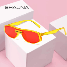 SHAUNA Fashion Candy Color Small Rectangle Women Sunglasses