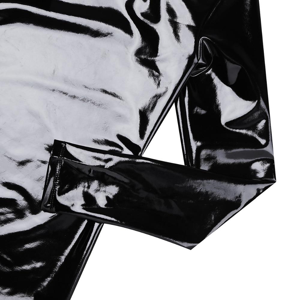 iiniim Black Mens Patent Leather Long Sleeve Zipper T-shirt Nightclub Style Metallic Shiny Hip Hop Pullover T-Shirt Costume Top