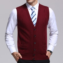 Men Winter Autumn Spring Business Sweaters Sleeveless Cardigans Sweater Vest