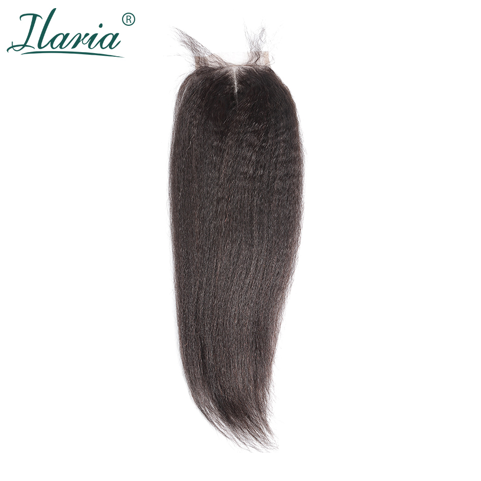 ILARIA HAIR Brazilian Kinky Straight Lace Closure With Baby Hair 4x4 100% Human Hair Top Closure Middle Part Free Part 3 Part