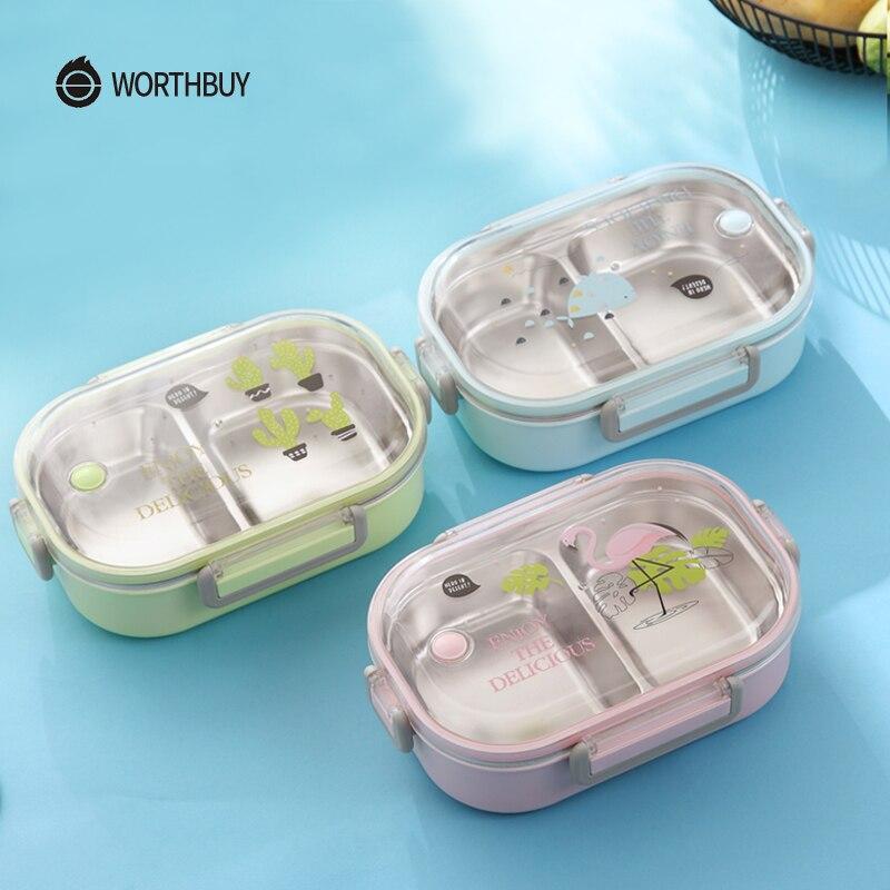 WORTHBUY caja de cartón de la caja de almuerzo para los niños japoneses de 304 de acero inoxidable caja de Bento a prueba de fugas de los niños Bento almuerzo, caja de comida contenedor de caja
