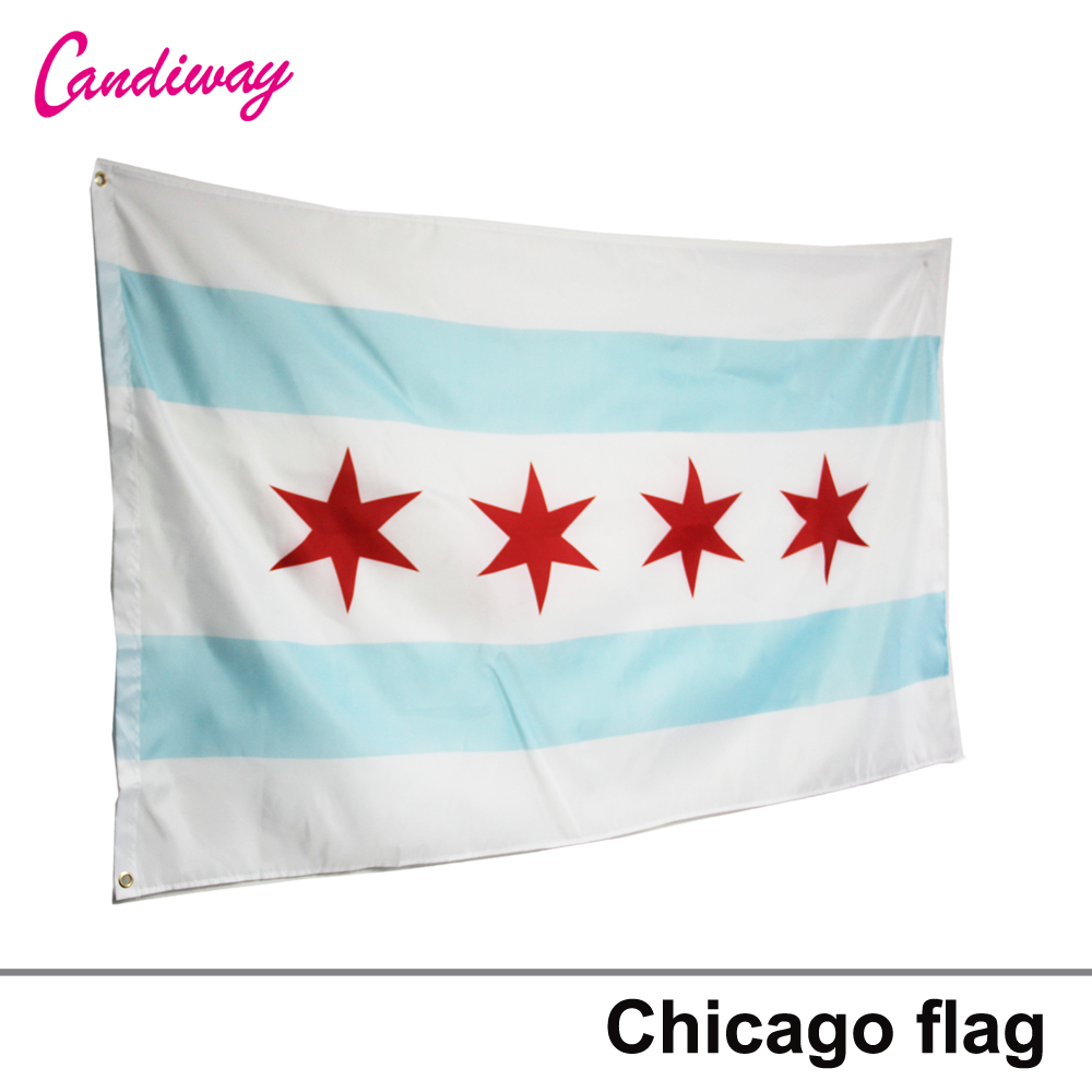 City Chicago Flag Illinois Banner Windy City Pennant 3x5 Feet Indoor Outdoor 4 star flag ...