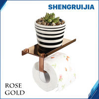 Free Ship Rose Gold Roll Paper Holer With Shelf Wall Mounted Roll Paper Rack Stainless Steel
