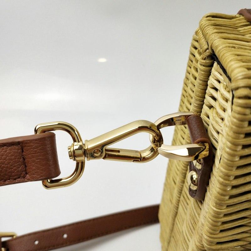 2019 nuevos bolsos de cuero, bolso de ratán, bolso portátil, bolso hecho a mano, bolso grande para mujer, bolso de paja de alta calidad - 4