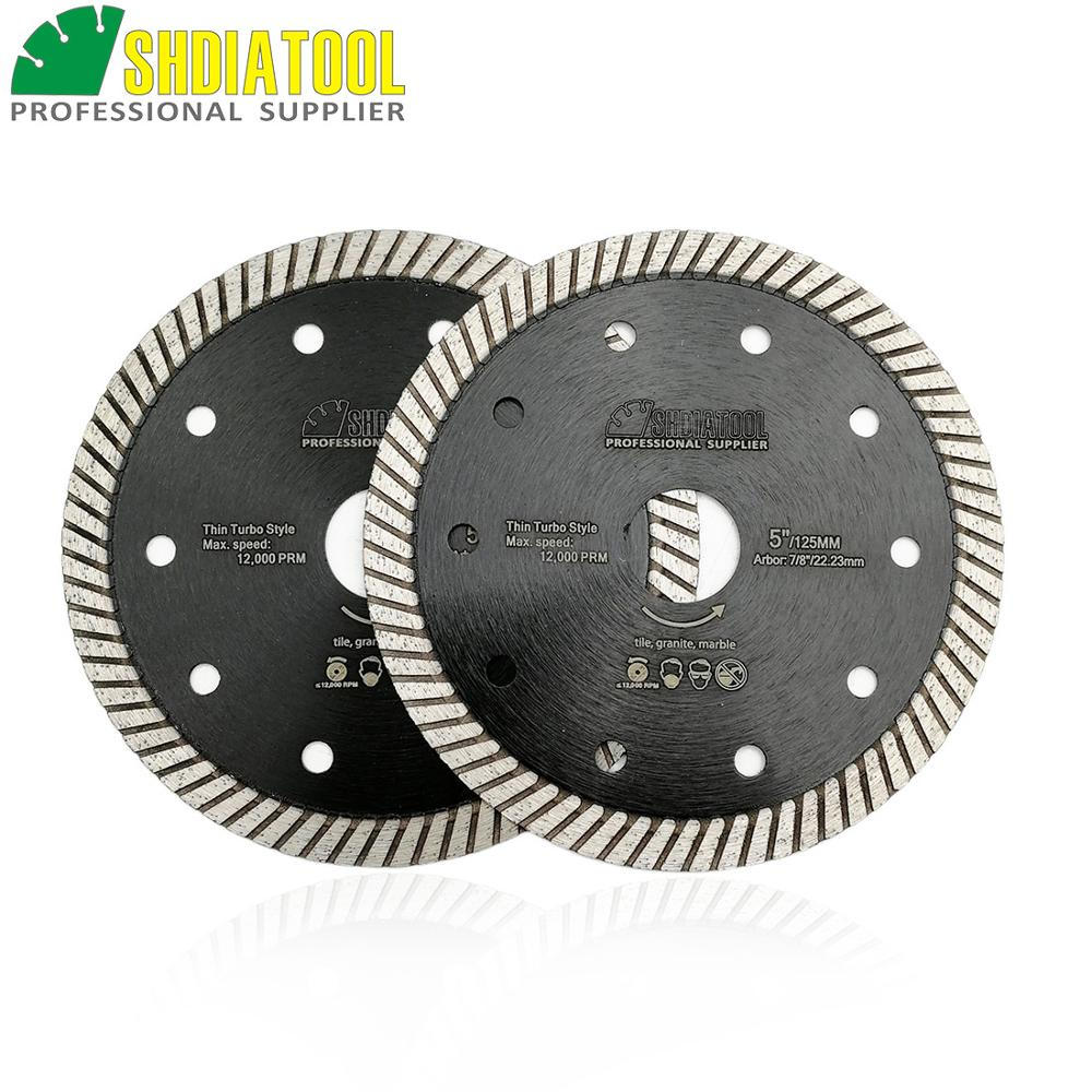 DIATOOL 2pcs 125MM Diamond Hot Pressed Diamond Superthin Turbo Blades For Hard Material Ceramic Tile Granite Cutting