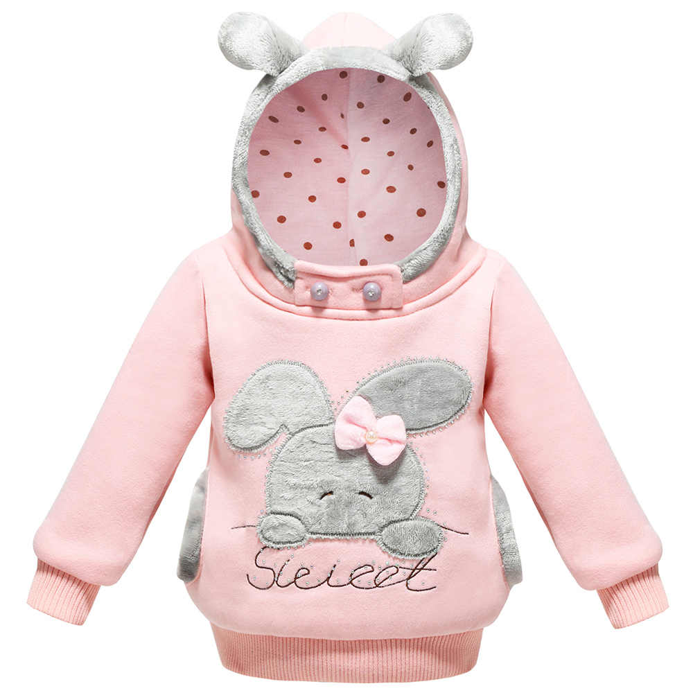 Baby Girls Clothing Winter Sweater 2018 Children's Rabbit Hooded Long Sleeve Fleece Jacket With Pocket Kids Sweatershirt 1-5 yrs