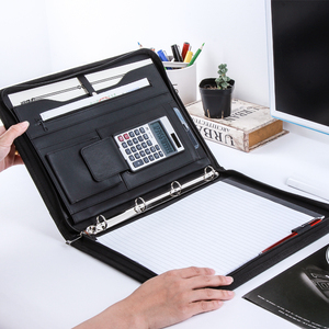 Папка для файлов формата А4 из искусственной кожи высокого уровня с застежкой-молнией и кольцом для бумаг для ноутбуков 1201A