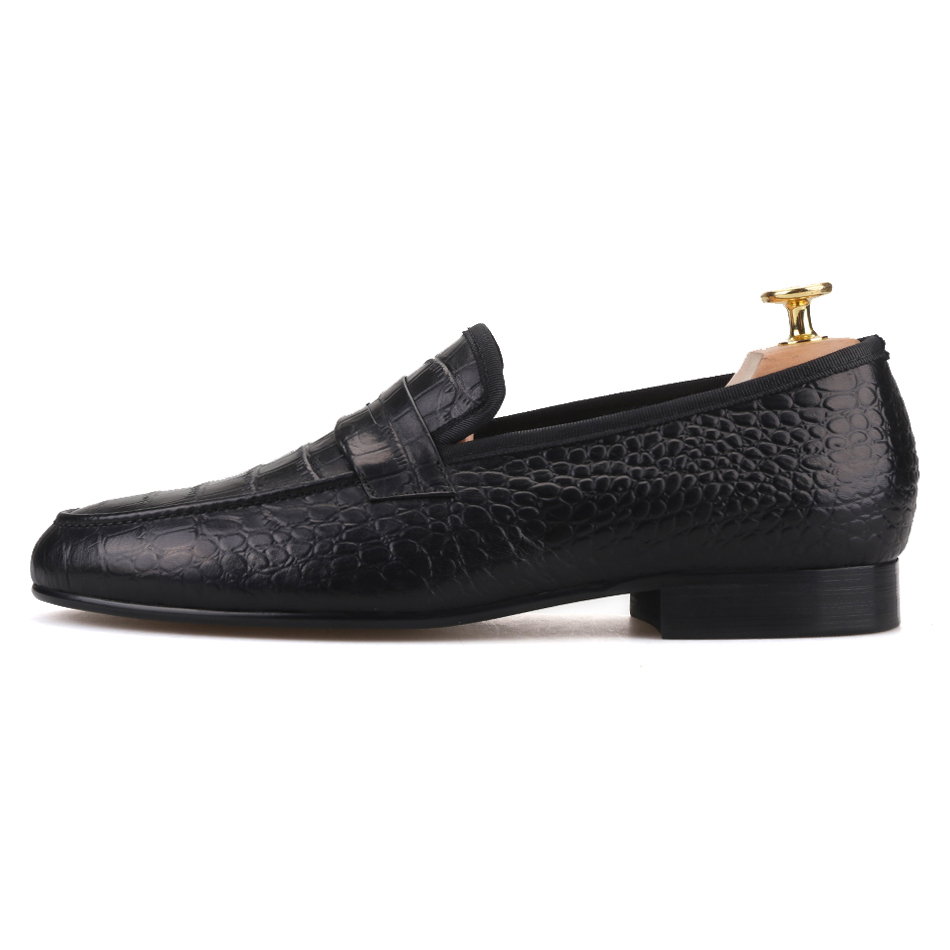 Piergitar Handmade Crocodile embossed Genuine Leather Men's shoes party and wedding Men Loafers male's Causal Flats plus size