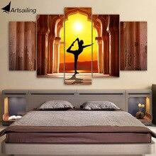 5 Piece Yoga Fitness Twilight Canvas Art