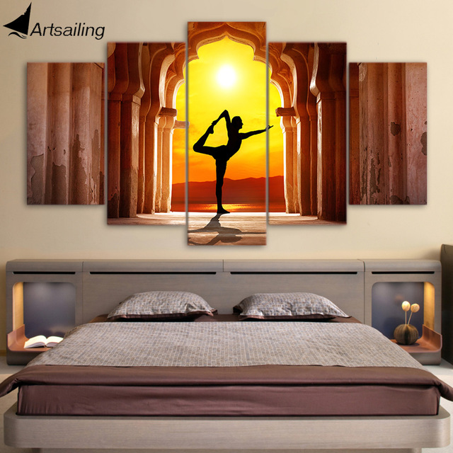 HD Printed 5 Piece Canvas Art Yoga Fitness Twilight Hall Painting Wall  Pictures For Living Room