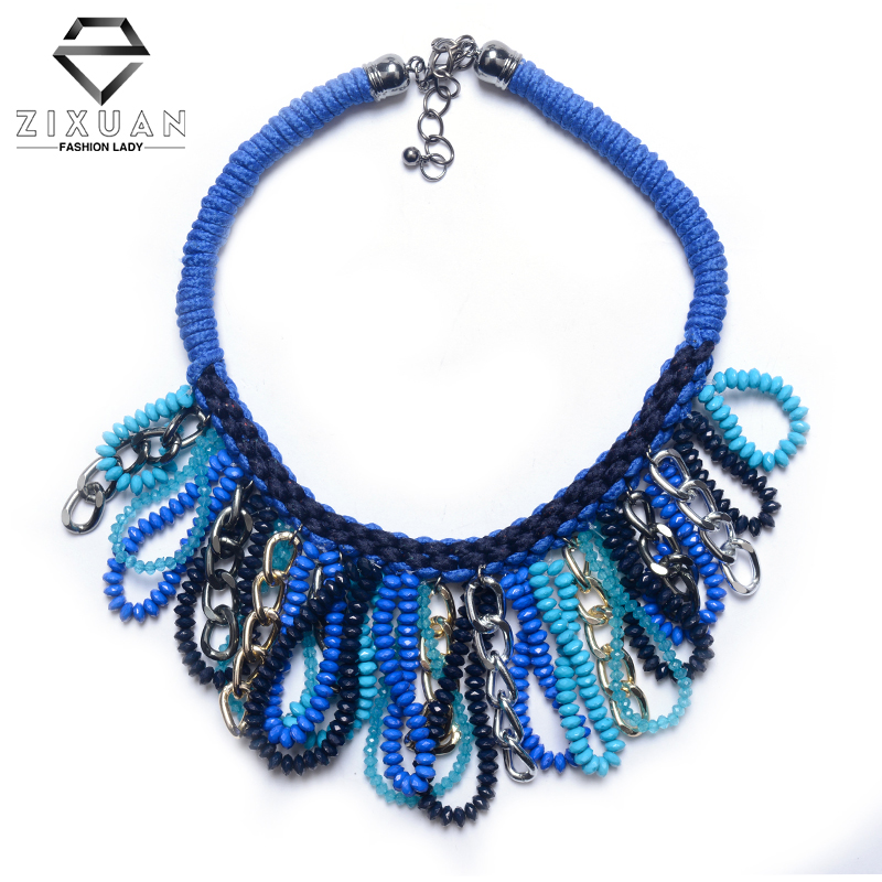Bohemia Cluster Twist Pendant Beads Short Temperament Necklace Chain Collar