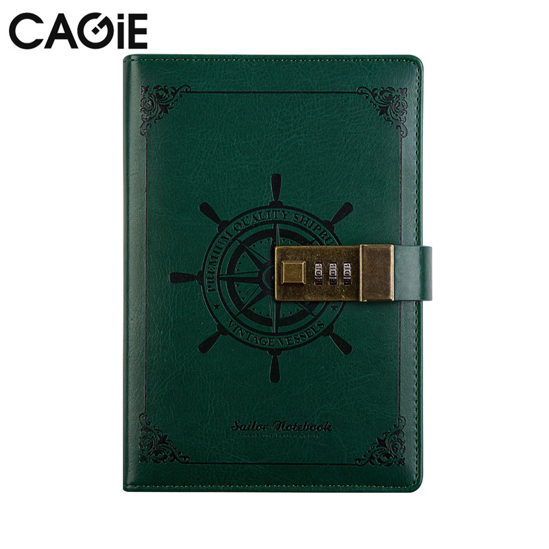 Lock Journal Cagie Vintage Paper Notebook Pu Leather Sailor Notebooks Traveles Diary Office School Planner Filofax 2016 new arrive a5 a6 pu leather planner snap notebook with notebooks writing pads office