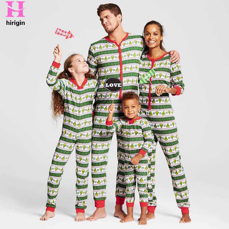 fe39e5fe57 HIRIGIN 2017 Winter Fashion Family Matching Christmas Pajamas Set Family  Look Outfits Parents Kids PJs Sleepwear