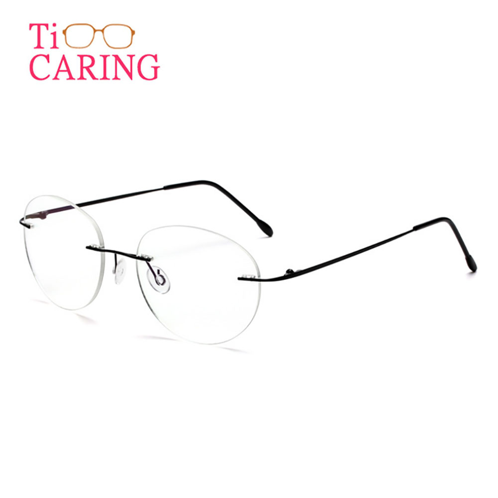Ti-CARING retro round titanium material ultra-light  men & women myopia metal reading glasses frame NEW