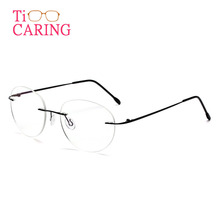Ti-CARING retro round titanium material ultra-light  men & women myopia metal reading glasses frame