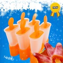 Lolly form behälter Pan Küche Nach Dem Zufall farbe 6 Zellen Gefroren Ice Cube Formen Popsicle Maker DIY Ice Cream Werkzeuge Kochen werkzeuge