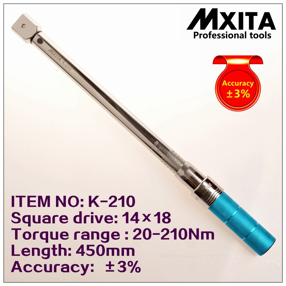 MXITA 14x18 20-210Nm Accuracy 3% High precision professional Adjustable Torque Wrench car Spanner   Insert Ended head mxita 1 2 5 60n adjustable torque wrench hand spanner car wrench tool hand tool set