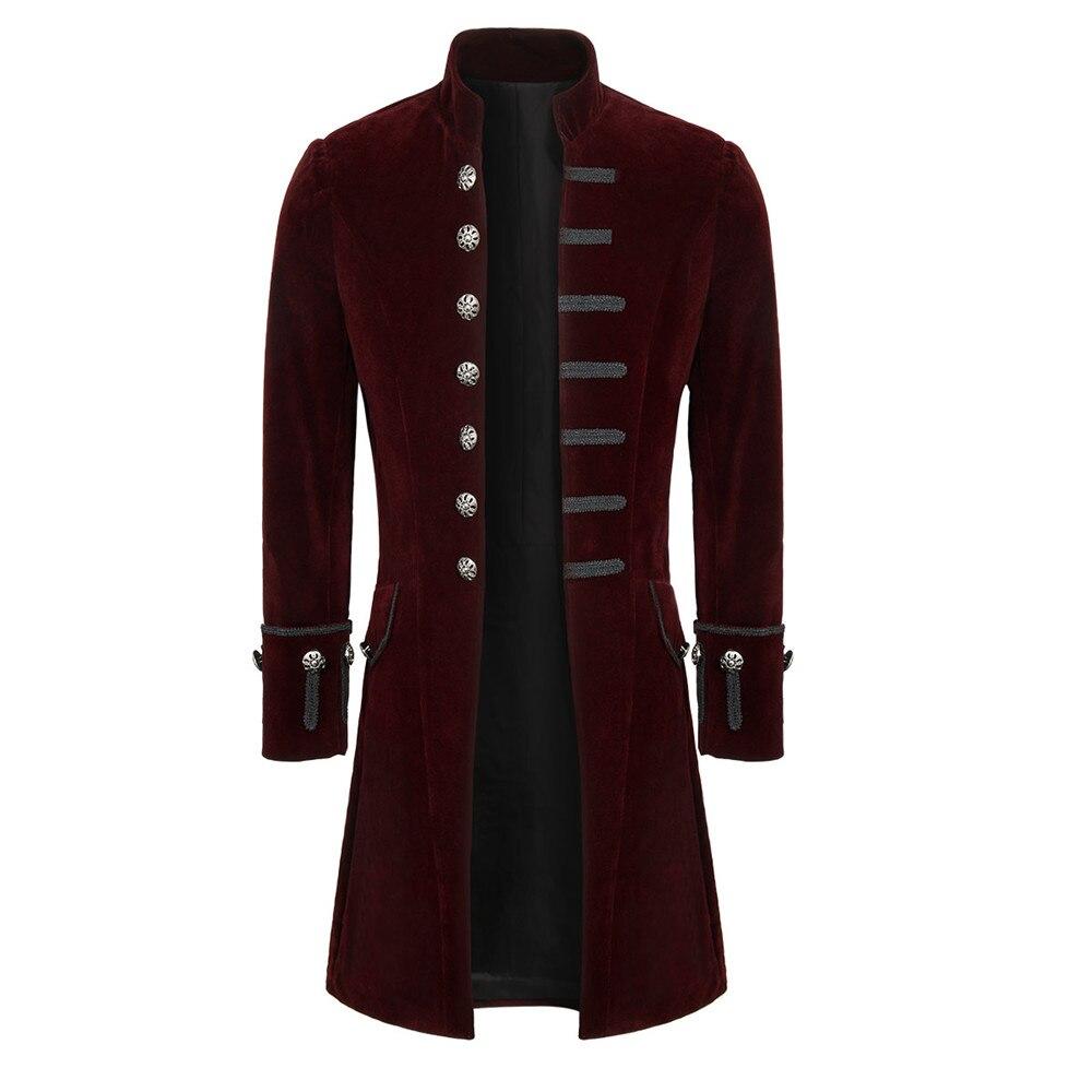 Mens Velluto/broccato Gotico Redingote Giacca Steampunk Del Victorian Cappotto Lungo Di Halloween Mardi Gras Dress Up Aristocratico Elegante Cappotto
