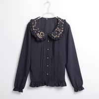 Sweet Lolita Blouse Gothic Peter Pan Collar Stars Embroidery Long Sleeves White Black Blue Shirt
