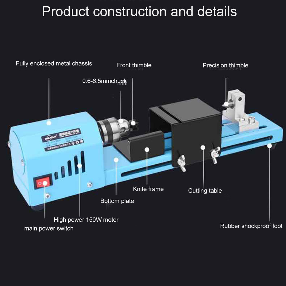 150W Mini Lathe Beads Polisher Machine DIY CNC Machining for Table Woodworking Wood DIY Tool  TSH Shop|Abrasive Tools| |  - title=