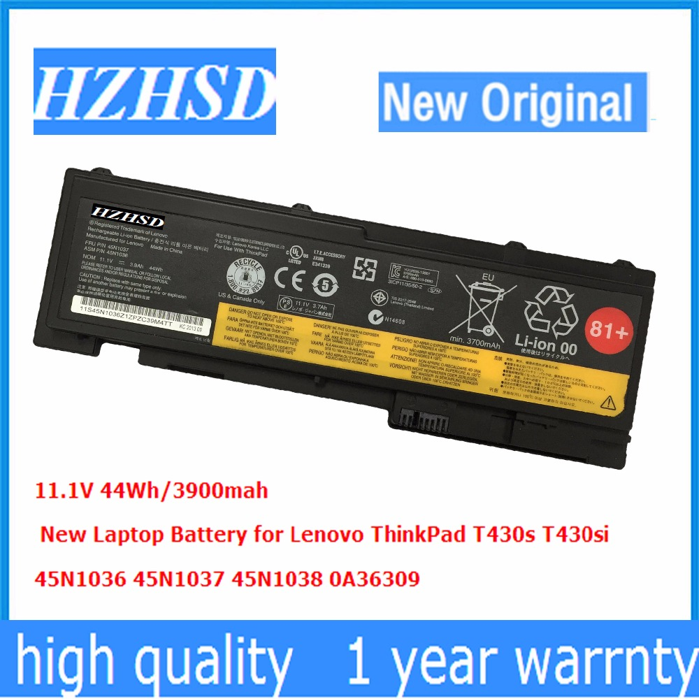 11.1V 44Wh Original New T430s T420S Laptop Battery For Lenovo ThinkPad T430s T430si 45N1036 45N1037 45N1038 0A36309
