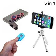 5in1 Camera Lens Kit Fisheye Fish eye Lens Macro Lenses Bluetooth shutter Tripod for iPhone 5s lens 5 6s 6 7 Plus Phone Holder