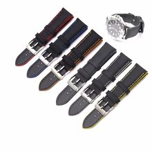 CARLYWET 18 20 22 24 26mm Black Waterproof Nylon Leather Replacement Wrist Watch Strap Band For Omega Montblanc Disel Panerai(China)