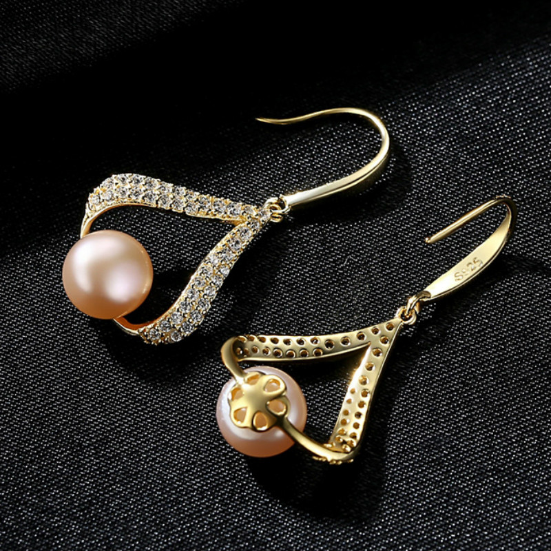 YUEYIN 18K Gold Plated Sterling Silver Dangle Earrings for Women Gold Earrings Cute Earrings Korean Earrings Pentagram in Earrings from Jewelry Accessories