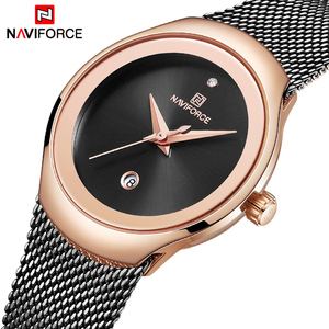 Image 1 - Relogio Feminino Women Watch NAVIFORCE Top Brand Luxury Fashion Ladies Quartz Watches Mesh Stainless Steel Casual Clock Girl