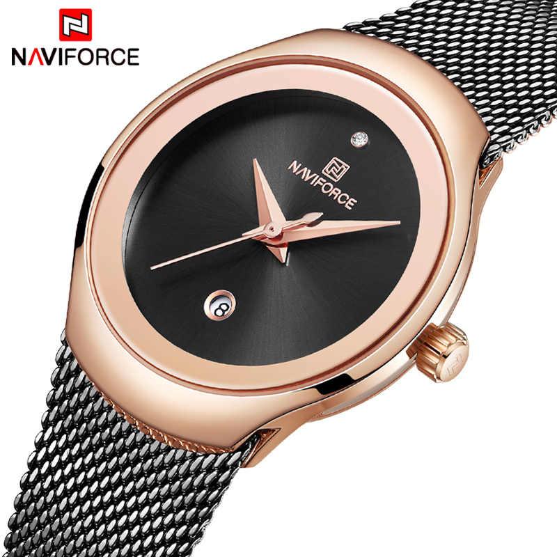 Relogio Feminino kadınlar İzle NAVIFORCE üst marka lüks moda bayan kuvars saatler Mesh paslanmaz çelik Casual saat kız