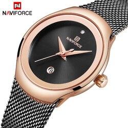 Relogio feminino relógio feminino naviforce marca superior luxo moda senhoras relógios de quartzo malha aço inoxidável relógio casual menina