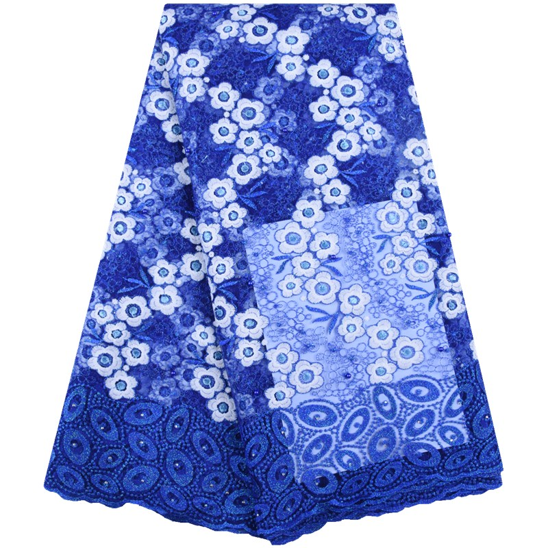 sky blue African lace fabric High Quality Nigerian milk tulle lace Stone chiffon French lace Fabric