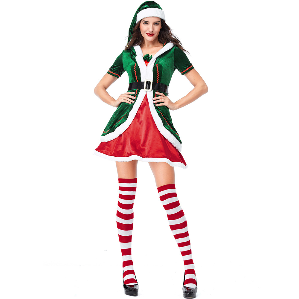 Velvet Red Green Spirit of Christmas Elves Costumes Cosplay Suit For Woman Christmas Party Cosplay