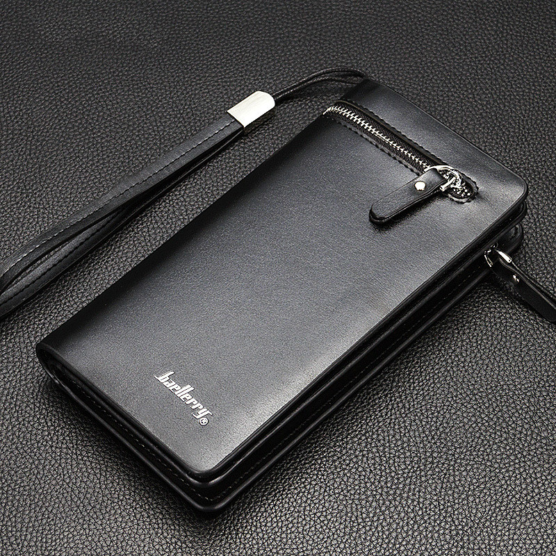 High Quality Brand Men Clutch Bag Fashion Pu Leather Long Purse Double Zipper Business Wallet Black Brown Male Casual Handy Bag in Wallets from Luggage Bags