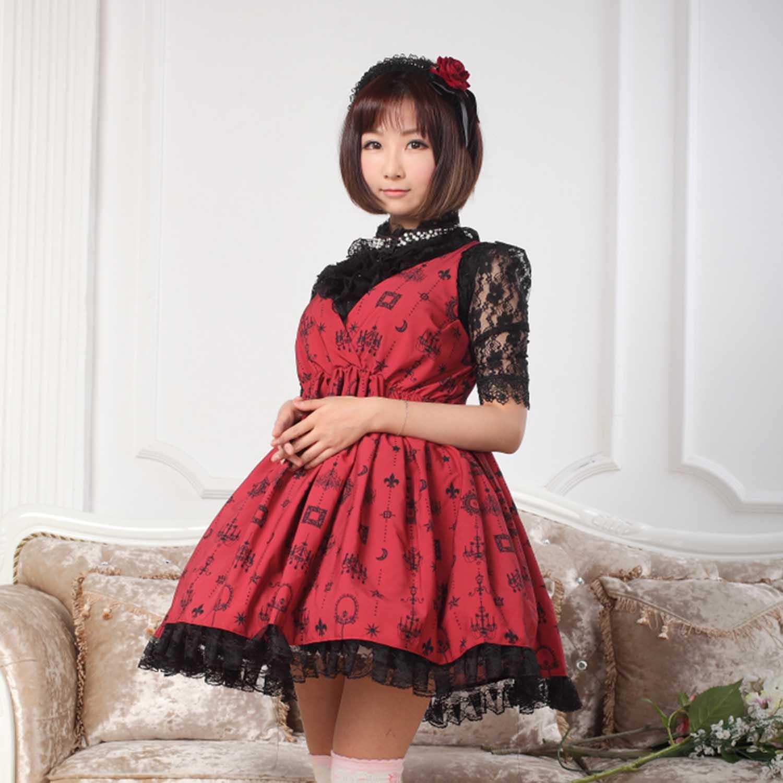 Conception Et Doux Bourgogne Imprimé Robe Empire Rouge Avec Lune Sans Taille Cross Étoiles Court Manches Criss Lolita aUaq0