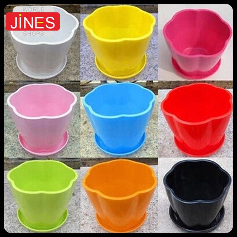 8 pcs lot warna warni plastik pot pembibitan dengan nampan kecil bunga  bentuk gemuk bibit dc228d2250