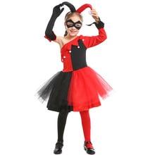 Umorden Child Kids Red Black Clown Joker Suicide Squad Harley Quinn Costume for Girls Halloween Carnival Mardi Gras Party Dress