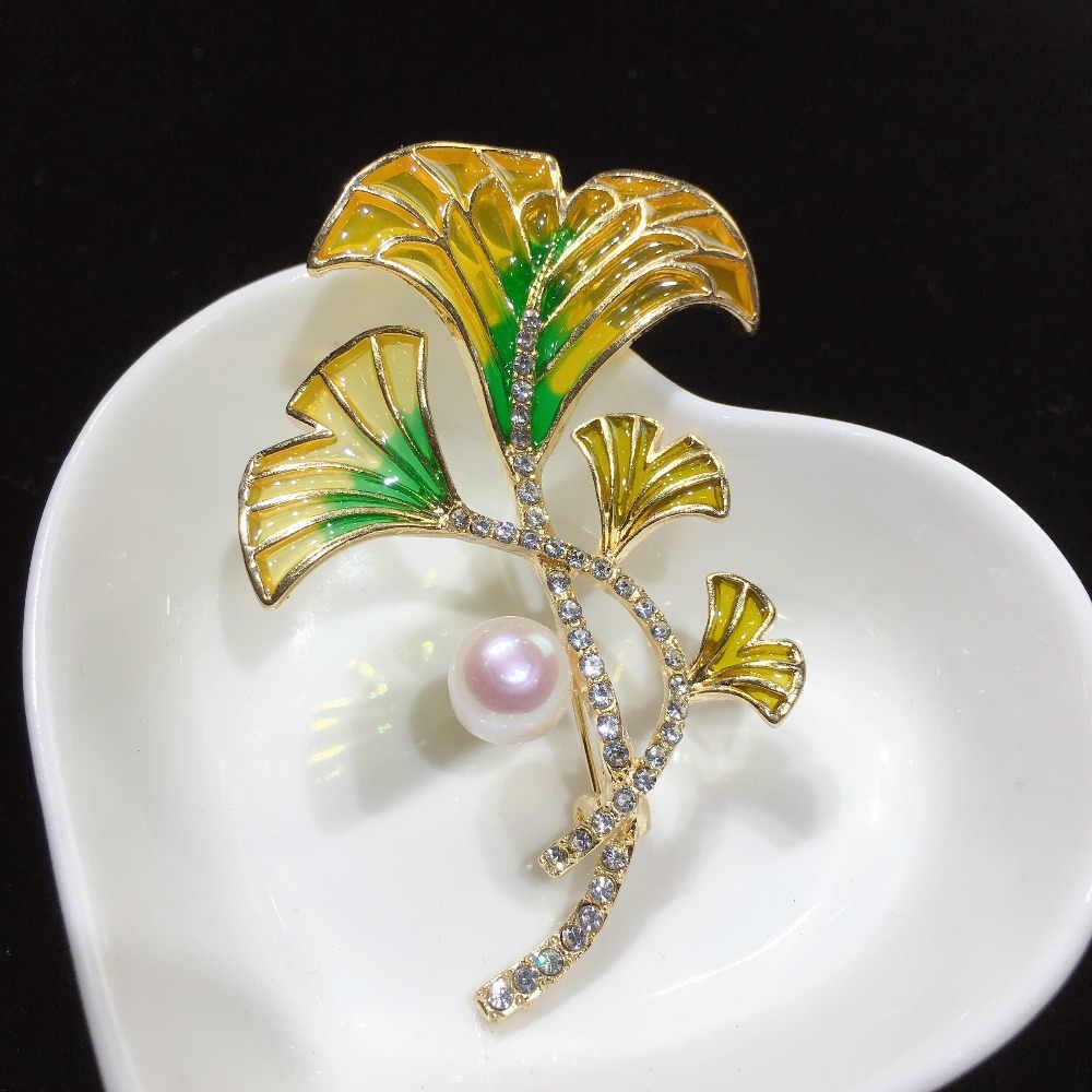 SHDIYAYUN 2019 nuevo broche de perlas de agua dulce Natural creativo esmalte flor broche Simple alfileres para mujeres joyería regalo de mujer