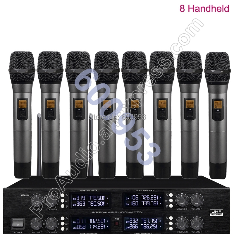 MICWL UHF Adjustable frequency 8 Handheld Wireless Microphone System for Stage KTV Karaoke micwl 2038v high end 8 lapel lavalier mics uhf led digital radio cordless wireless karaoke microphones system
