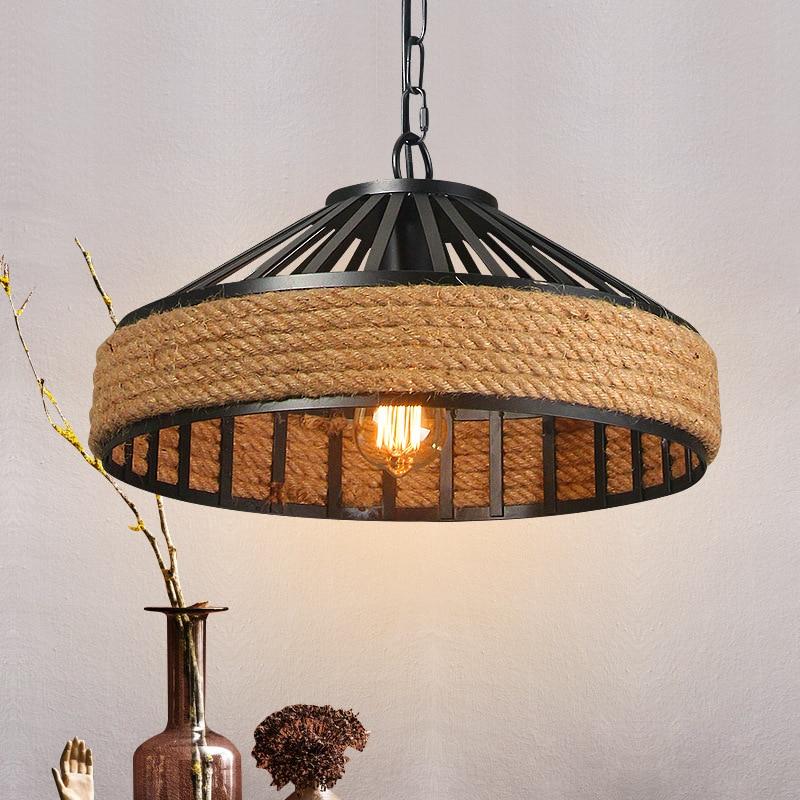 40cm Nordic Retro Hemp Rope Large Chandelier Vintage Loft Iron Hanging Lamp Home Fixtures for Bar Restaurant Living Room lustre
