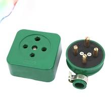 Pino redondo verde 3 fase 4 fio 3p4w soquete industrial conjunto 16a ac 440v