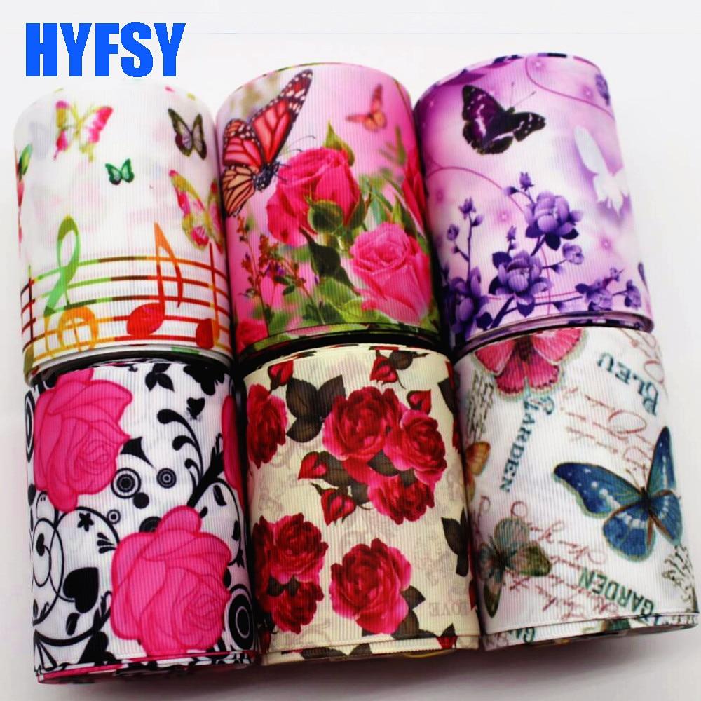 Hyfsy 10068 75 мм цветок бабочка лента 5 ярдов DIY Украшение для волос подарочная упаковка ручной работы материалы Grosgrain ремень