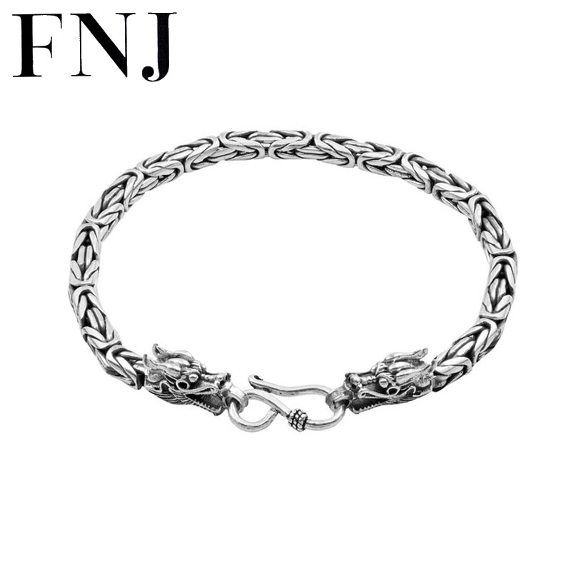 FNJ 925 Silver Dragon Bracelet New Fashion Chain Original S990 Thai Silver Bracelets for Men Jewelry 2018 925 bracelets mens vintage men s bracelet heavy thai silver fashion jewelry free shipping men s silver 925 charm bracelet