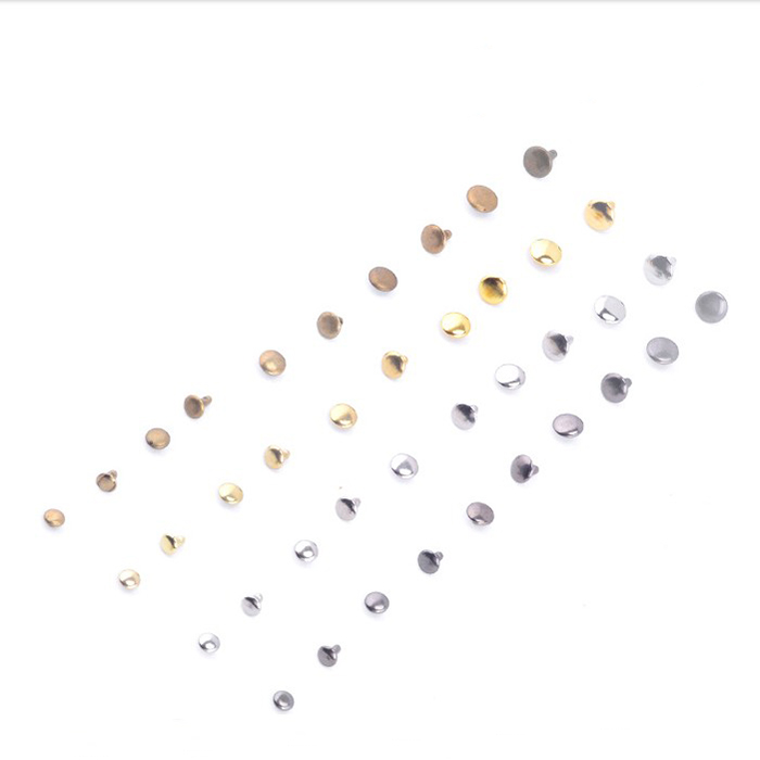 6~10 Mm Diameter Nickel Gunmetal Gold Round Domed Double Cap Rivets Purse Feet Studs Bag Shoe Clothing Accessories 1000 Sets/lot