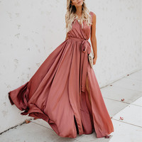 Summer Women Dress Long Sleeve V neck Belt Loose Split Long Maxi Boho Bohemia Sunsuit Casual Beach Dress