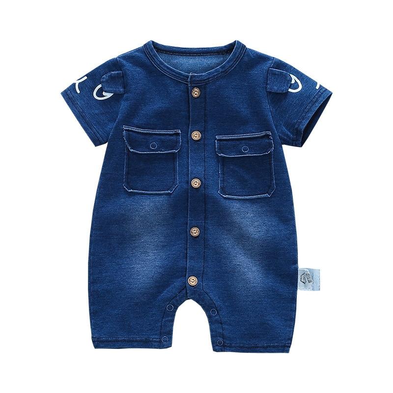 2018 Soft Denim Baby Romper Graffiti Infant Clothes Newborn Jumpsuit Babies Boy Girls Costume Cowboy Fashion Jeans Children