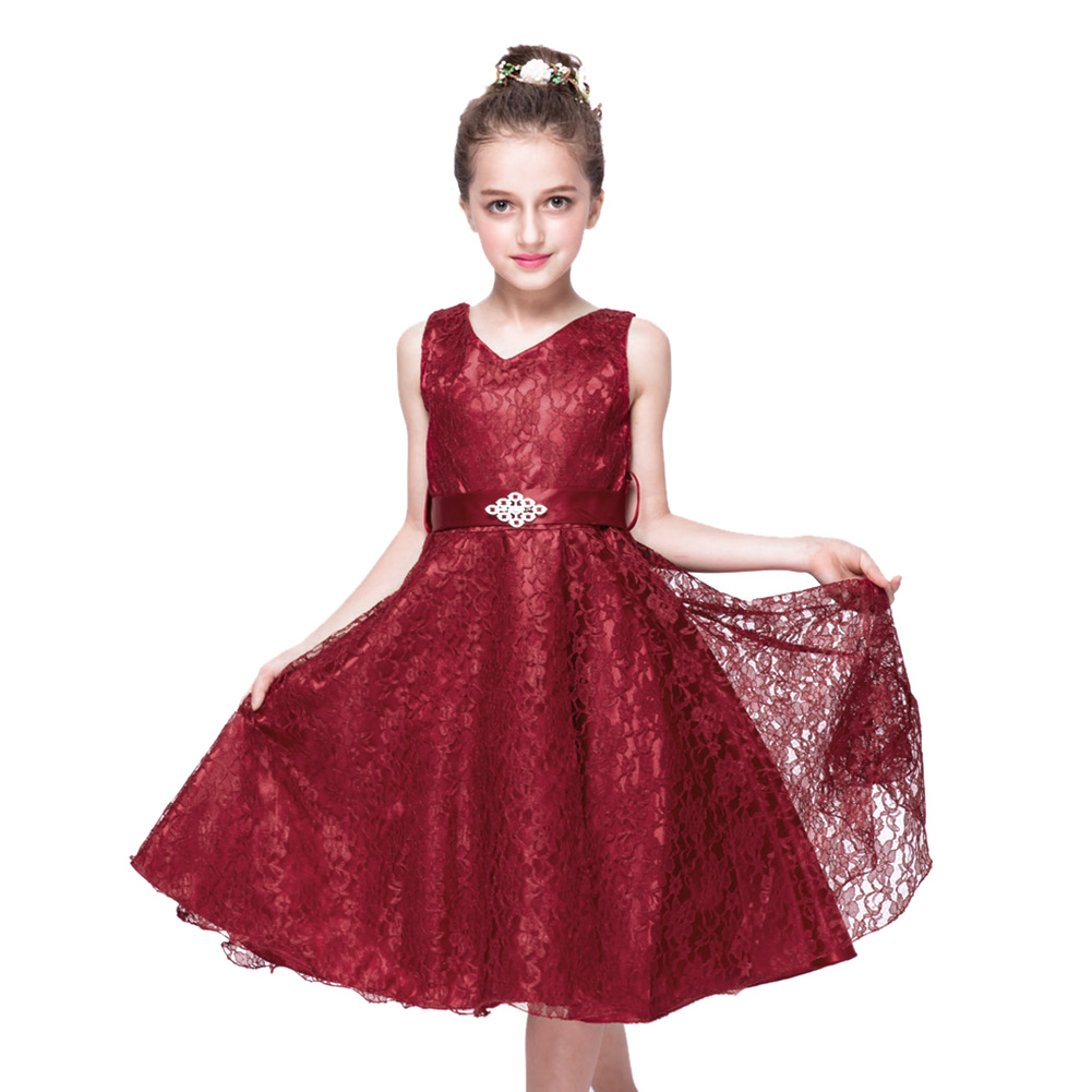 2016 Evening Girls Party Dresses Princess Lace Kids Clothes Sleeveless Elegant Birthday Dress 3 to 12 Years 2017 new summer girls dress girls sleeveless dresses princess party kids clothes 3 12 years children birthday evening clothing