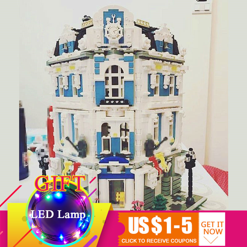 15018 3196pcs MOC City Series The Sunshine Hotel Set Building Blocks Educational Children DIY Toys Gift lepin lepin 16050 the old finishing store set moc series 21310 building blocks bricks educational children diy toys christmas gift