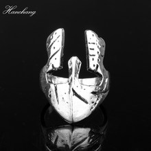 HANCHANG New Arrival Viking Sparta Ring Mask jewelry Exquisite Men Spartan Helmet Ring Greek Hero Warrior Retro Ring Men Cosplay(China)